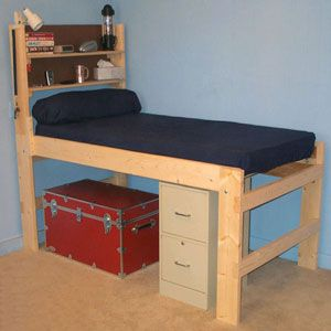 Solid Wood All Sizes High Riser Bed 1000 Lbs Wt Capacity Twin
