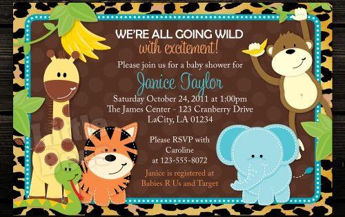 Leopard Print Jungle Safari Animals Printable Baby Shower or Birthday Invitation |