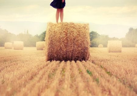 This is too cute! Senior picture, hay bale and a dress.