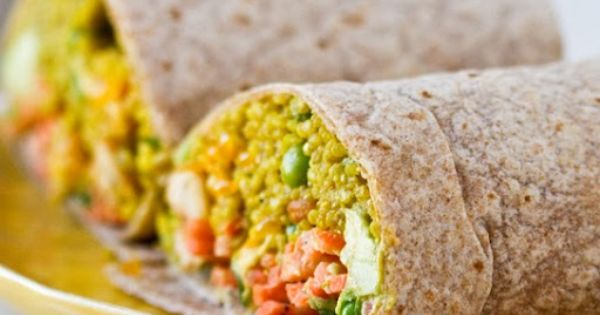 curried quinoa wrap with avocado citrus slaw