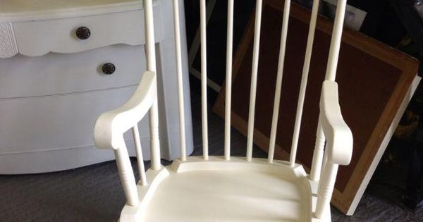 Solid pine rocking chair painted in a soft cream with vintage floral ...