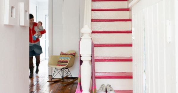 Pink stairs ;) Love love the floor