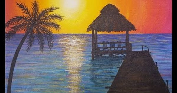 Easy Sunset Ocean Seascape Acrylic Painting Tutorial Beginner Lesson How To Paint Water Beach Scene Painting Water Painting Sunset Painting