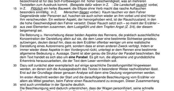 Gunter Kunert Der Rennfahrer Interpretationsaufsatz Unterrichtsmaterial Im Fach Deutsch In 2020 Rennfahrer Kurze Texte Aufsatz