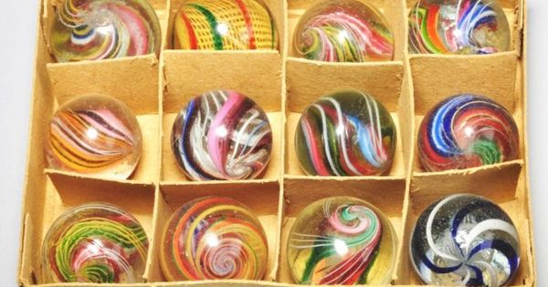 Rare Box Set Of German Swirl Marbles Marbles Old And