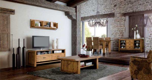 Sal n comedor de estilo rustico con un dise o m s moderno - Muebles estilo rustico moderno ...