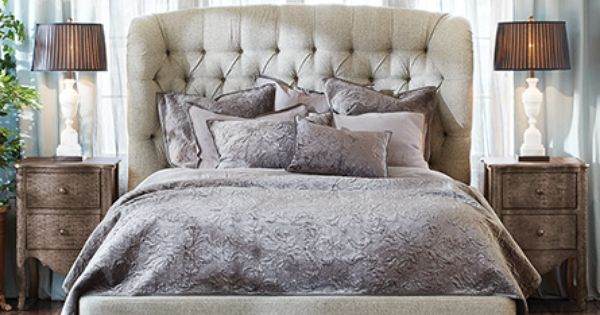 Axel Pewter Linen Tufted Headboard Headboards: Mariah Tufted Upholstered Queen Bed In Taft Pewter And