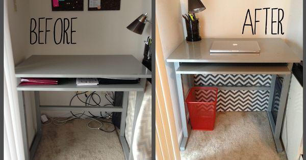 Hiding desk cords