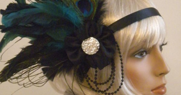 Flapper Headpiece, 1920's Headband, Gatsby, Roaring 20's, Black, Teal, Green, Feathers. via
