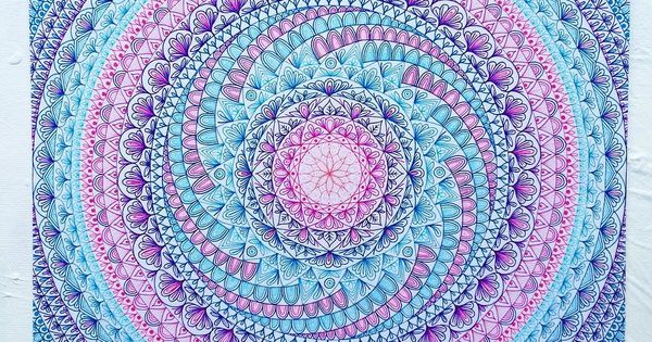 Love the teal, pink, purple and blue of this mandala ...
