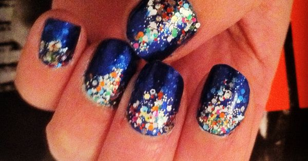 deep sea sparkly nails.
