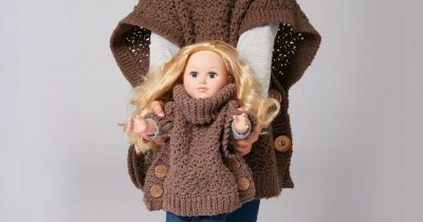 free patterns; crochet; poncho; 18 inch doll and child Doll clothes-America...