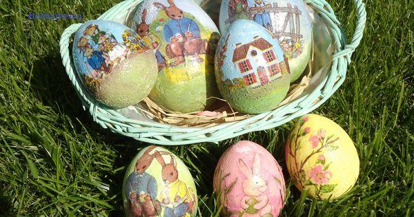 Uova di polistirolo decorati con tovagliolo di carta - Uova di pasqua decorati ...