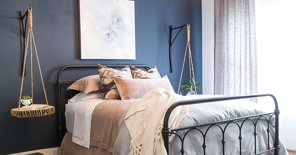 A Hale Navy Hc 154 Accent Wall Creates A Beautiful Contrast With Wickham Gray Bedroom