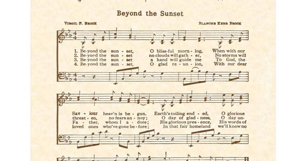 beyond the sunset o blissful morning sheet music pdf