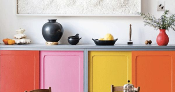 Poppytalk: Colorful kitchen cabinets - photo: jean-marc wullschleger/living agency for real living