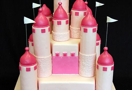 Pink Castle Cake (1251) - princess castle cake with chocolate filling for