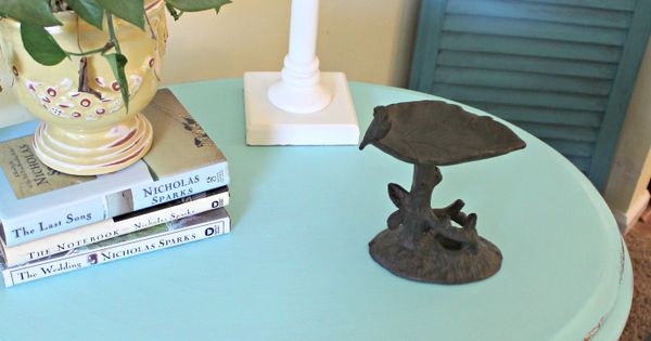 Aqua Painted Side Table | Magnolia, Painted side tables ...
