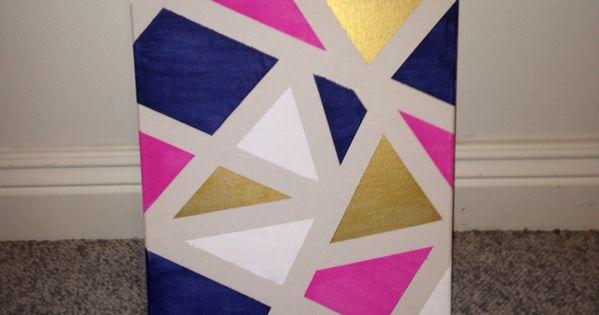 Diy Canvas Art Apply Painters Tape Randomly Around A
