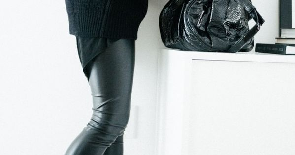 black leather leggings, long sweater, wide-ankle booties = pure love