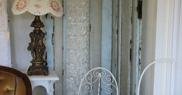 Screen made from two old french doors hinged together for Hinged screen doors for french doors