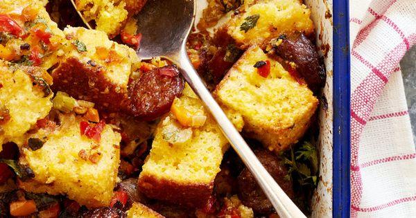 Pepper-and-Sausage Cornbread Dressing   Recipe   Turkey Broth, Corn ...
