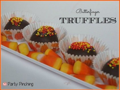 Butterfinger truffles made with candy corn   Halloween   Pinterest ...