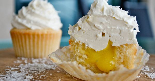 Coconut cupcake with lime curd filling. Yummy summer treat!