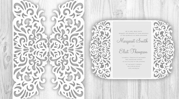 Laser cut wedding invitation template, lace fold card ...
