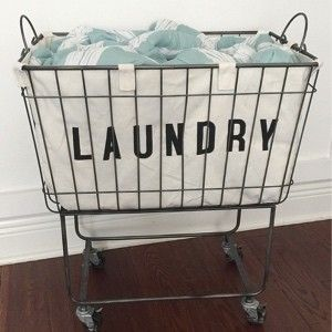 Fabric Lined Metal Rolling Laundry Cart 92 00 I Have A Real
