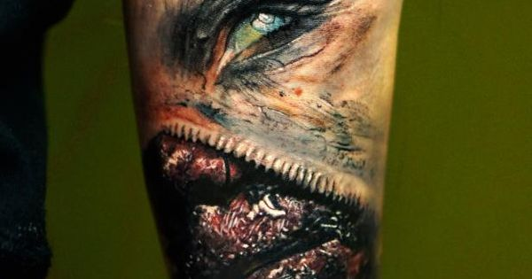 incredibly surreal horror gore tattoo by domantas parvainis tattoos horror horror gore. Black Bedroom Furniture Sets. Home Design Ideas