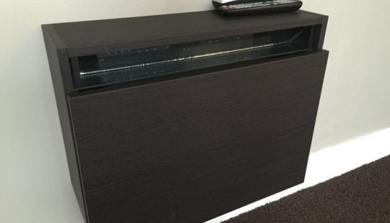Extra Slim Under Bed Storage: Slim Wall Mounted Cabinet Holding Cable Box