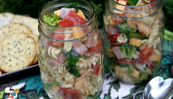 deli style pasta salad with mason jar