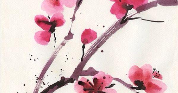 watercolor cherry blossom tattoo idea tattoos. Black Bedroom Furniture Sets. Home Design Ideas