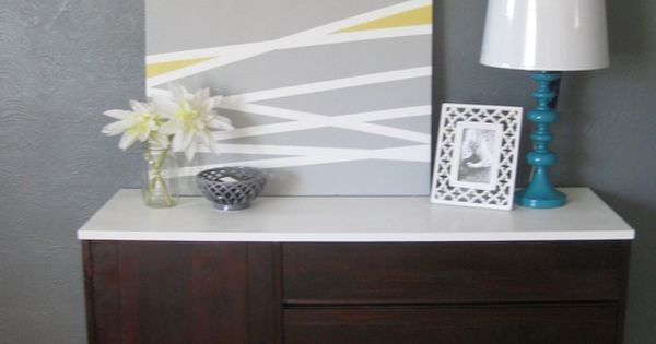 DIY canvas art Another take on the DIY masking tape stripe art