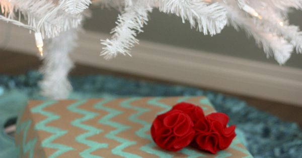 diy: chevron print wrapping Christmas Decor