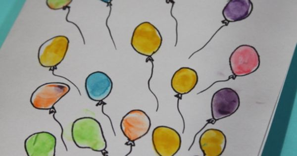 Balloon Fingerprint Art Birthday Card James Harris