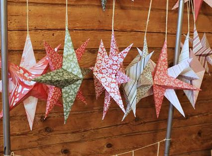 paper stars. These are super easy to make. Could be made as