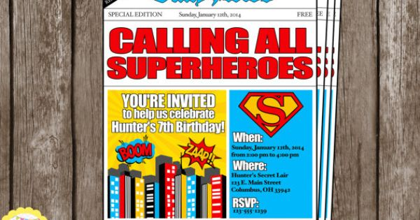 PRINTABLE Newspaper Boys Superhero Birthday Invitation. YOU PRINT. on Etsy, $8.00 | Invitations ...