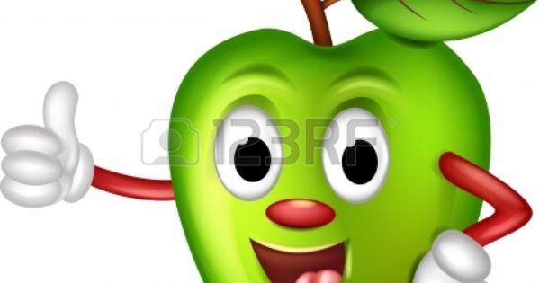 Stock Vector Divertido Manzana Verde