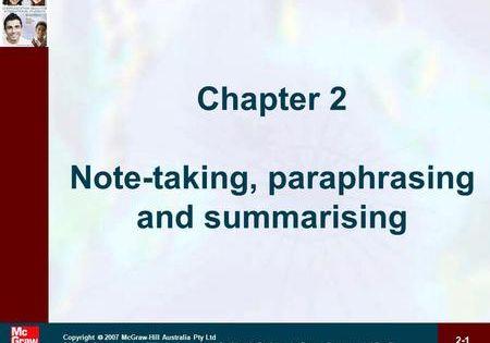 2 1 Copyright 2007 Mcgraw Hill Australia Pty Ltd Ppt T A Communication Skill For International Summarizing Activitie How To Memorize Thing Writing Skills Paraphrasing