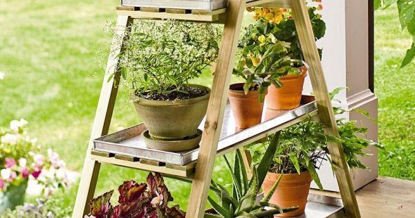 blumenst nder selber bauen terrasse blickfang deko idee garten und balkon pinterest selber. Black Bedroom Furniture Sets. Home Design Ideas
