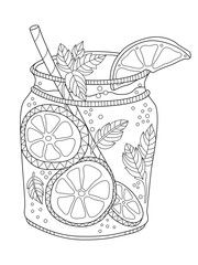 Lemonade Adult Coloring Page In Zentangle Style Klever