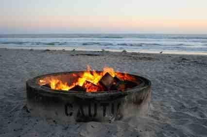 Bonfire On The Beach Southern California Camping San Diego