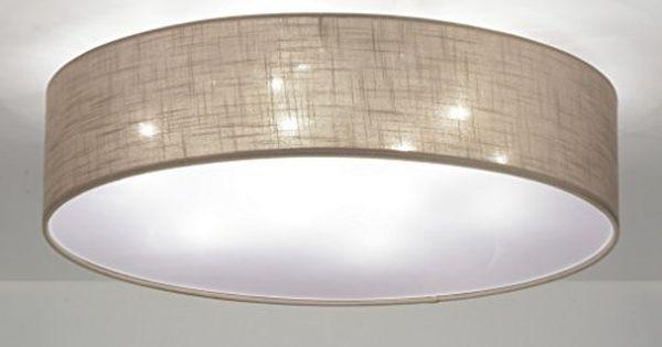 zoxx deckenleuchte modern stoff taupe rund haus. Black Bedroom Furniture Sets. Home Design Ideas