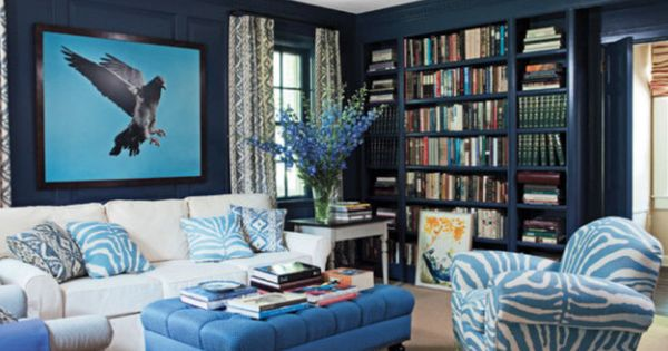 Eclectic Style Living Room With Midnight Blue Walls And