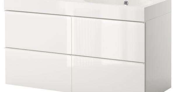 Kids Bath Guest Bath Godmorgon Br Viken Sink Cabinet With 4 Drawers High Gloss White