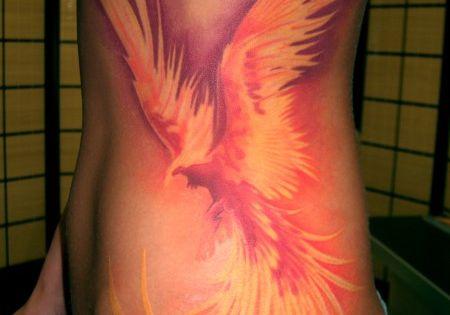 Phoenix Bird Colorful Watercolor Style Women S Side Tattoo Idea