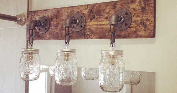 Rustic Industrial Modern Mason Jar Light Fixture Porch By: Rustic/ Industrial/ Modern Wood Handmade Mason Jar Vanity
