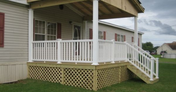 Mobile Home Front Porch With Wood Deck Gabled Roof
